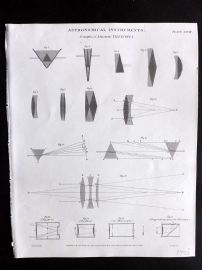 Rees 1820 Antique Print. Astronomical Instruments 28 Achromatic Telscopes